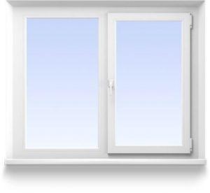 Двухстворчатое окно 1300*1400 Створки: глухая и  поворотно-откидная   от 6600 руб