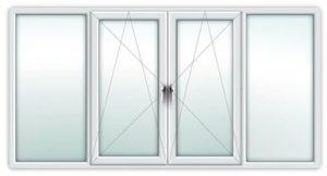 Четырехстворчатое окно(балкон) 3000*1400 Створки: 2 глухие и  2 поворотно-откидные от 14700 руб.